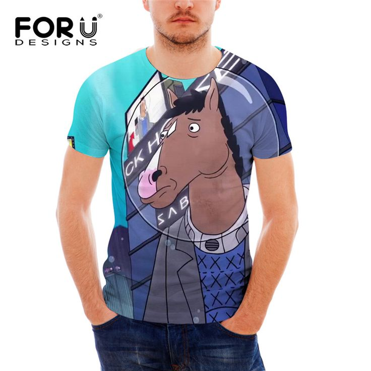 FORUDESIGNS Fashion Men T Shirt Short Sleeve 3D Character BoJack Horseman Print Top Tees Male Clothing Breathable Casual T-shirt //Price: $22.19 & FREE Shipping //     #outfit #stylish #trendy #bpstylesandtrends #design
