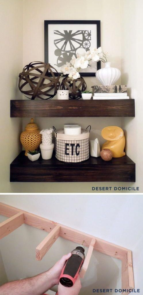 19 #DIY # $ 15 #Wooden #Floating #Shelves #Above #The    – Akzente für die Inneneinrichtung