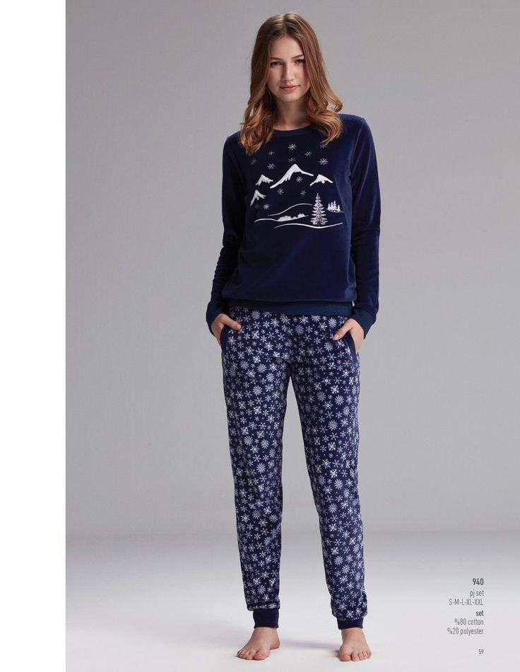 Catherine's 940 Bayan Pijama Takım. Soğuk ve yağışlı sabahlarda kahvenizi yudumlarken.. #Markhacom #BayanPijama #Pijama #EvKeyfi #EvGiyim #Kış #YeniSezon