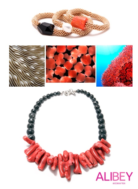 Coral look with Alibey accessories #accessories #coral #alibey #necklaces #bracelets #sea