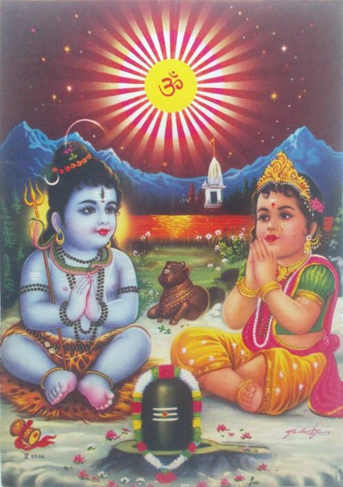 Young Lord Shiva, Young Parvati Devi (via ebay: Indian_ash)