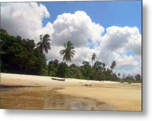 White Clouds Loaded Zanzibar Island Skyview Long Shot Metal Print By Navin Joshi