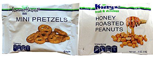 King Nut Airline Size *VARIETY PACK* Honey Roast Peanuts and Mini Pretzels (100 / .5-Ounce Airline Size Bags) -- Sensational bargains just a click away