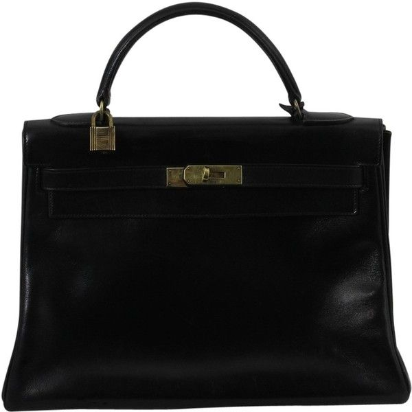"Pre-owned """"Kelly Bag 32 Box Calf Leather"""" (13.625 BRL) ❤ liked on Polyvore featuring bags, black, preowned bags, pre owned bags, hermes bag and hermès"