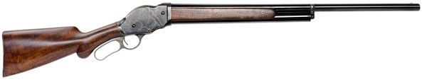 """1887 Lever Action Shotgun 12-Gauge 28"""" Blue Barrel - Designed by John Browning for the Winchester Repeating Arms Company, this model was considered the first of many successful repeating shotguns. A favorite of collectors and cowboy action shooters, the firearm is also ideal for hunting, with a five-shell magazine plus one in the chamber. It is fast and accurate, with a reliable safety. Stock and forearm are American walnut. Features case-hardened frame and blue barrel. Blue frame finish…"""