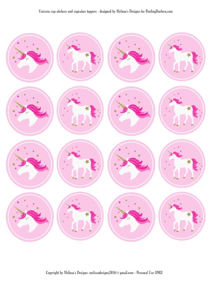 Unicorn Stickers & Cupcake Toppers