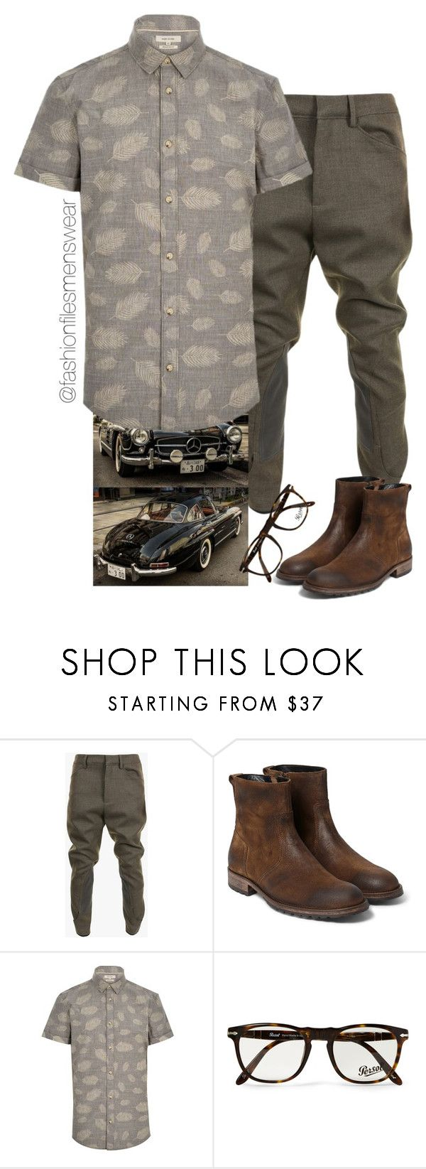 """Hipster Dude"" by highfashionfiles ❤ liked on Polyvore featuring Balmain, Belstaff, River Island and Persol"