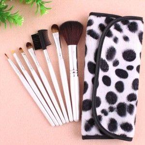 Kit 7 Pinceaux Maquillage Professionnel Visage Yeux avec trousse Pois Makeup…