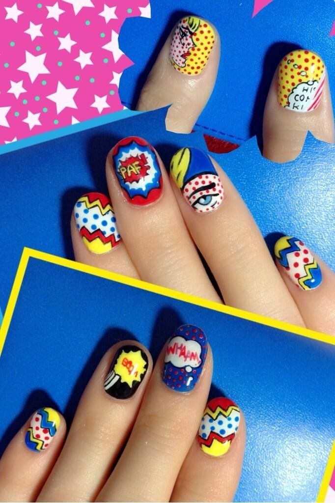 pop art comic nails                                                                                                                                                                                 More