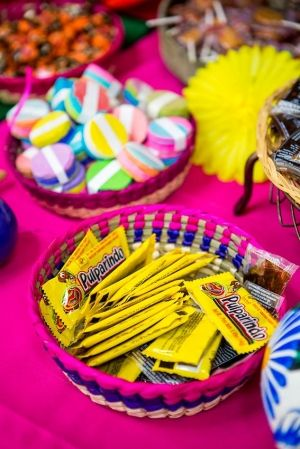 Organize your Mexican candy bar in traditional hand woven colorful baskets