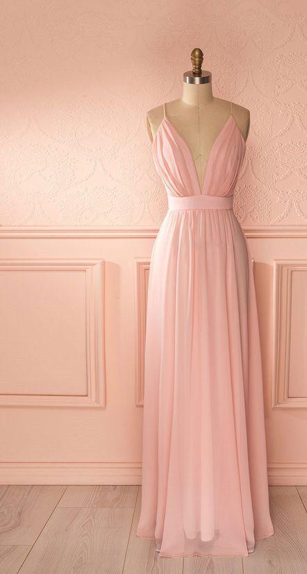 Spaghetti Prom Dress,Pink Prom Dress,Chiffon Prom Dress,Fashion Prom