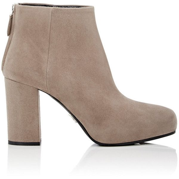 Prada Women's Pointed-Toe Ankle Boots (3 365 SEK) ❤ liked on Polyvore featuring shoes, boots, ankle booties, ankle boots, beige, pointy-toe ankle boots, block heel ankle boots, pointed-toe ankle boots, block heel booties and bootie boots