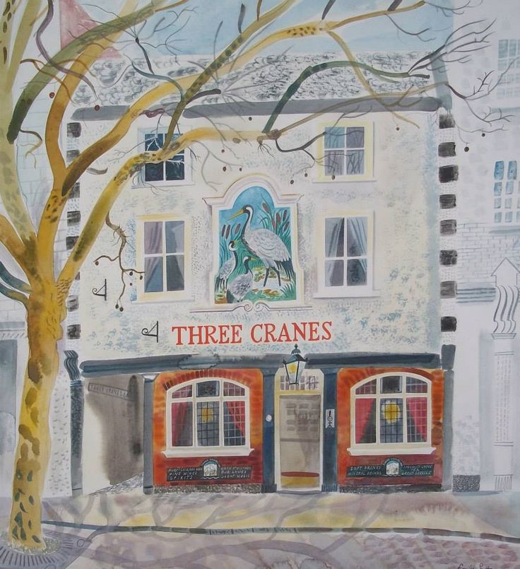 """""""The Three Cranes"""" by Emily Sutton (watercolour)"""