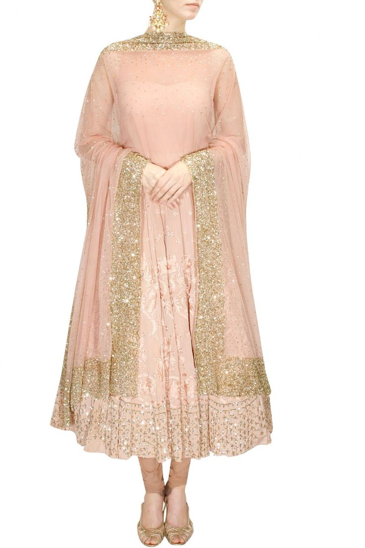 INTRODUCING : Peach thread and sequins embroidered anarkali set by Astha Narang. Shop now at www.perniaspopups... #fashion #designer #krishnamehta #shopping #couture #shopnow #perniaspopupshop #happyshopping