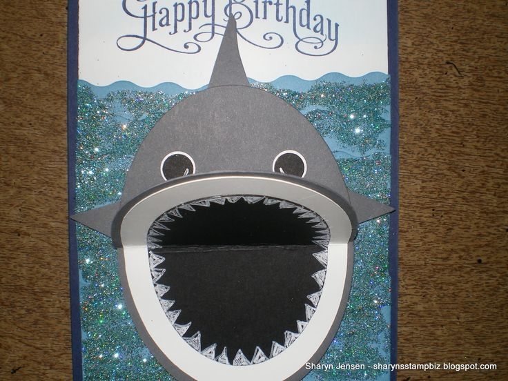 "Shark Card for Big D!! Very cute for a boy birthday! Made with 4"" ovals and pennants punch. Mouth opens and closes :-D"