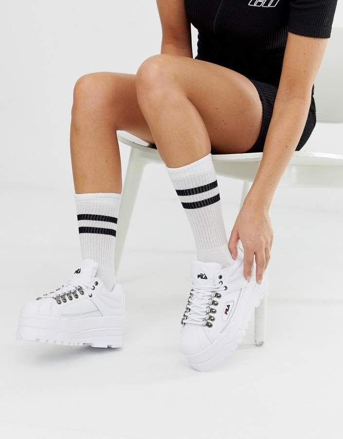 Fila White Trailblazer Wedge Sneakers