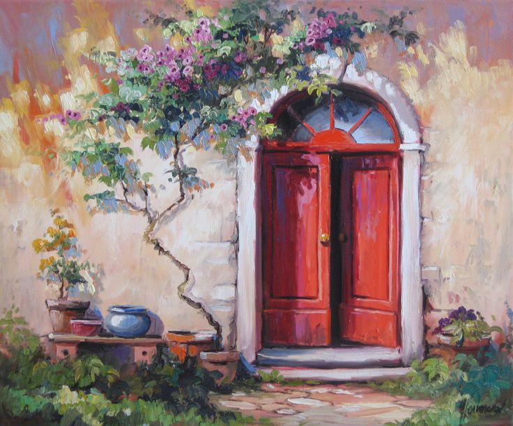 Eine klassische rote Haustür, an einem altehrwürdigen Haus, von einer Rose umspielt. Ölbild im Maß 70x80cm | www.ute-herrmann-kunstmalerin.de