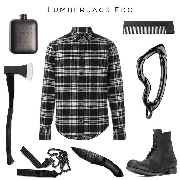 Lumberjack Noir EDC - Fashionably cutting trees down and chopping hearts up. // Clockwise: Zyx Flask by Izola, Flannel Shirt by Dsquared2, Comb by Chicago Comb Co., Arcus Carabiner keychain by @svorndesign, Boots by A DICIANNOVEVENTITRE, Darkness Knife by AFK, Pocket Saw by Duszake, Long Axe by Black Legion //    #edc #lumberjack #axe #knife #mensstyle #outdoorsstyle #outdoorsfashion #hipster #allblack #boots #dsquared #menswear #streetwear #style
