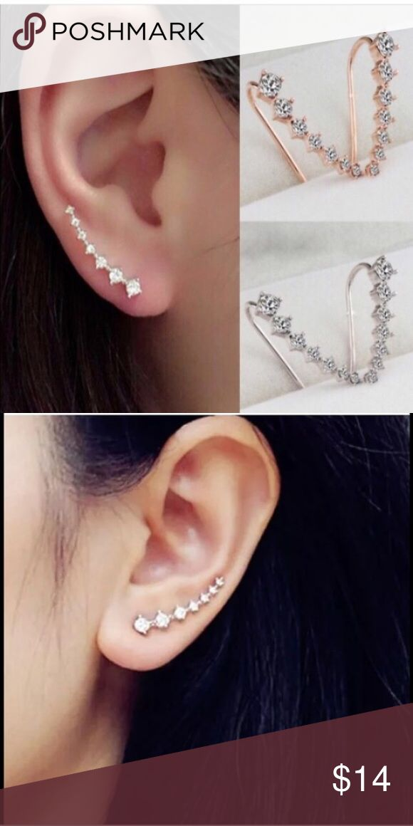 Rhinestone Silver Crystal Earrings 💯% Brand New                                                      Great accessory and decoration for girls and woman Jewelry Earrings