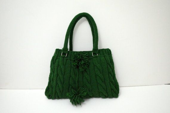 Knit tote bag-Gifts for mom-Wool Bag Handmade-Green Knit by hibbe