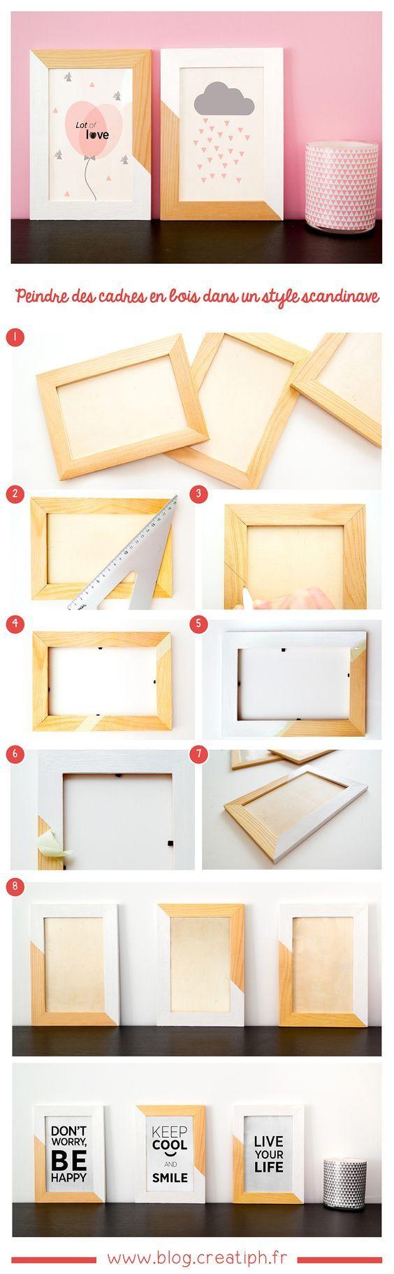 peindre des cadres en bois pour une d coration dans un style scandinave cadre bois scandinave. Black Bedroom Furniture Sets. Home Design Ideas
