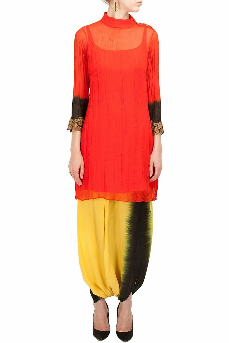 Red crushed kurta with two tone lungi   Website : http://www.bhartistailors.com/ Email : arvin@bhartistailors.com