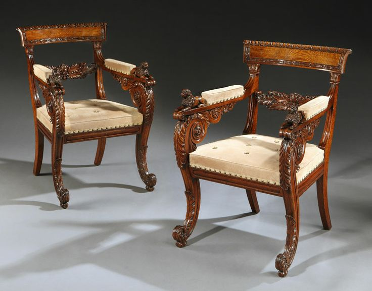 Antique An Outstanding Pair Of Regency Period Carved Oak Armchairs For Sale  By Godson U0026 Coles London Dealers In Fine English Furniture From The Late  Century ...
