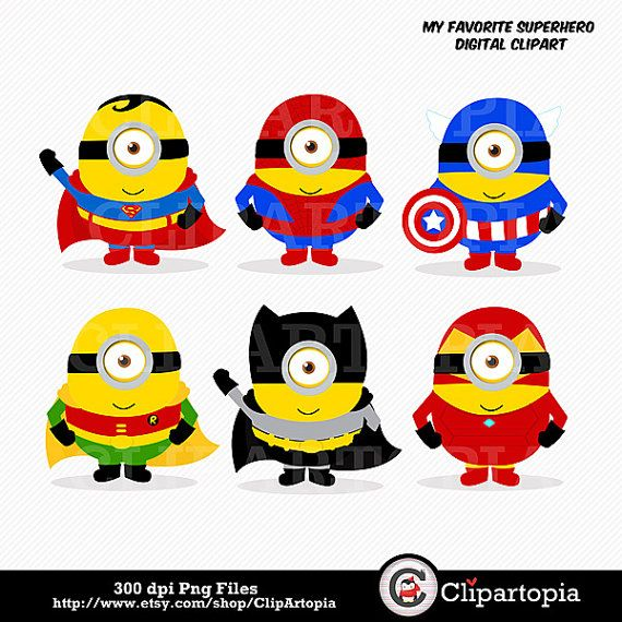 My Favorite Superhero Digital Clipart / Cute Superheroes For Personal and Commercial use/ Instant Download
