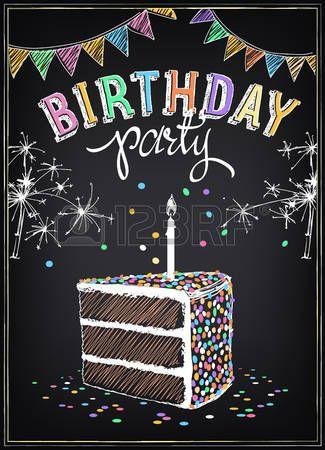 gis: Invitación a la fiesta de cumpleaños con una rebanada de la torta, bengalas y confeti. Dibujo a mano alzada con la imitación de dibujo de tiza