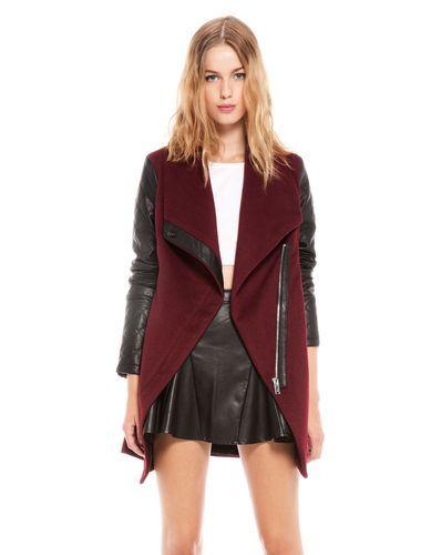 Bershka Zara Company Coat Jacket with Faux Leather Sleeves Burgundy | eBay