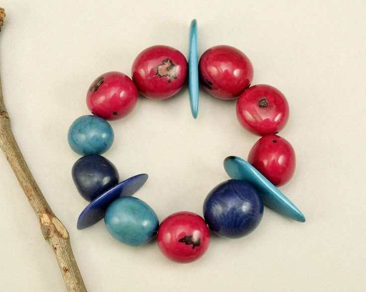 Tagua elastic bracelet, Pink turquoise bangle, vegetable ivory, eco jewelry, colorful bracelet, organic jewelry , spring cuff, exotic gift by ColorLatinoJewelry on Etsy