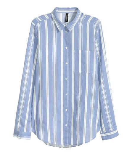 Check this out! Long-sleeved shirt in airy cotton with a chest pocket and a rounded hem. - Visit hm.com to see more.