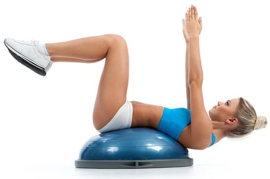 Floating bosu crunches for a flat core and strong upper for Floor exercises for abs