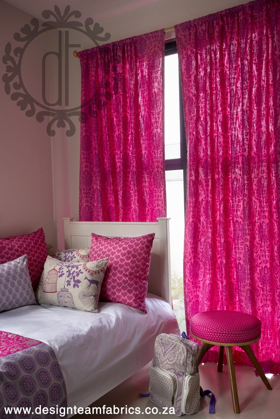 Various fabrics from Design Team fabric collections used in this beautiful girls room.