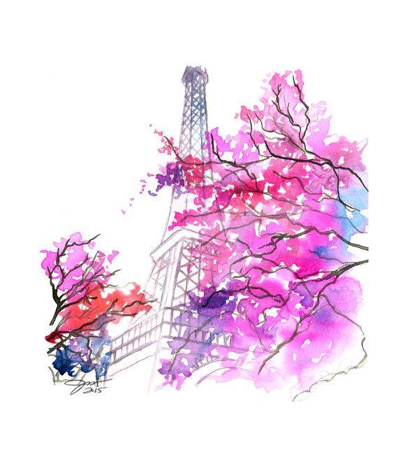 Paris im Frühling ein Druck nach original von JessicaIllustration