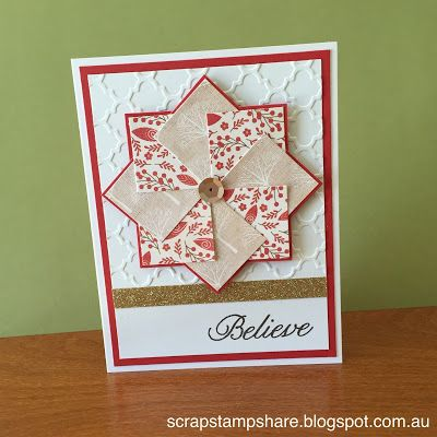 This Christmas Card inspired by Margaret Moroney, features the October Stamp of the Month, Twinkle. Created by Denise Tarlinton Check out details for creating this card at http://scrapstampshare.blogspot.com.au