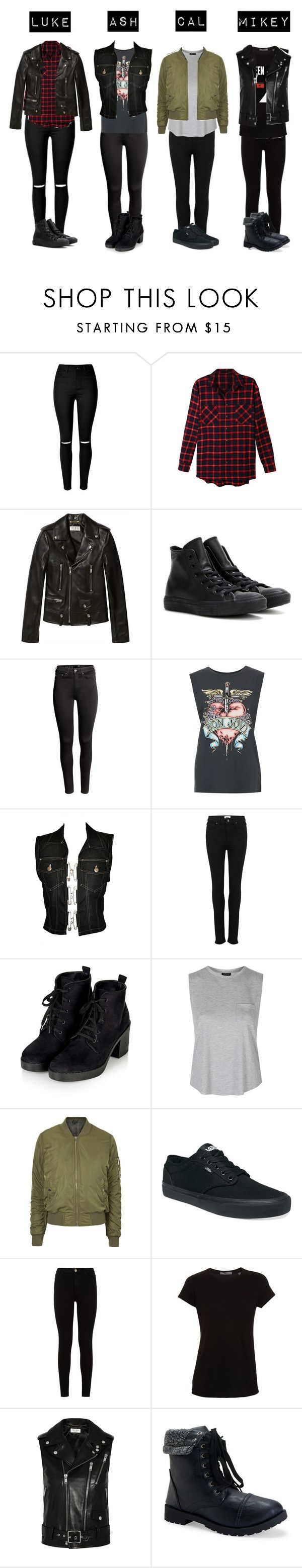 """5SOS Outfits- Girl Edition (1)"" by luke-hemmings-baby ❤ liked on Polyvore featuring LE3NO, Yves Saint Laurent, Converse, H&M, Jean-Paul Gaultier, Paige Denim, Topshop, Vans, 7 For All Mankind and Vince"