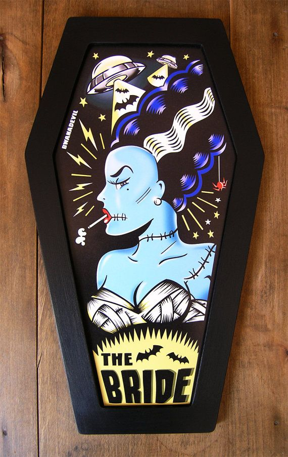 The Bride of Frankenstein coffin framed print $50