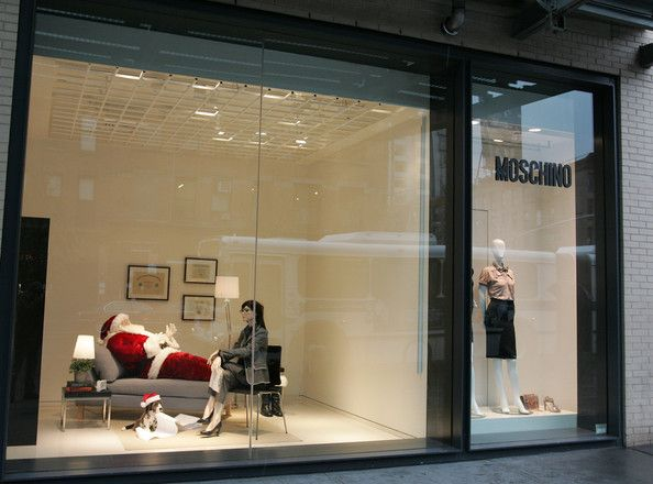 very witty, nontraditional holiday display - love this  Santa Claus seeks the help of a therapist in this window display at the Moschino boutique in meatpacking district of New York.