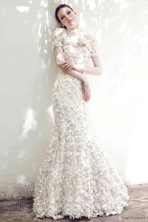 yumi katsura spring 2013 bridal sora fit flare floral lace gown