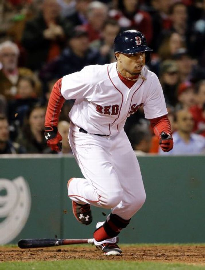 Boston Red Sox Team Photos - ESPNBoston Red Sox's Mookie Betts runs to first after hitting an RBI single in the seventh inning of a baseball game against the Toronto Blue Jays at Fenway Park in Boston, Wednesday, April 29, 2015. (AP Photo/Elise Amendola)