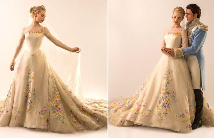 Lily James wears wedding dress in character as Cinderella. Photo: Disney via Vanity Fair