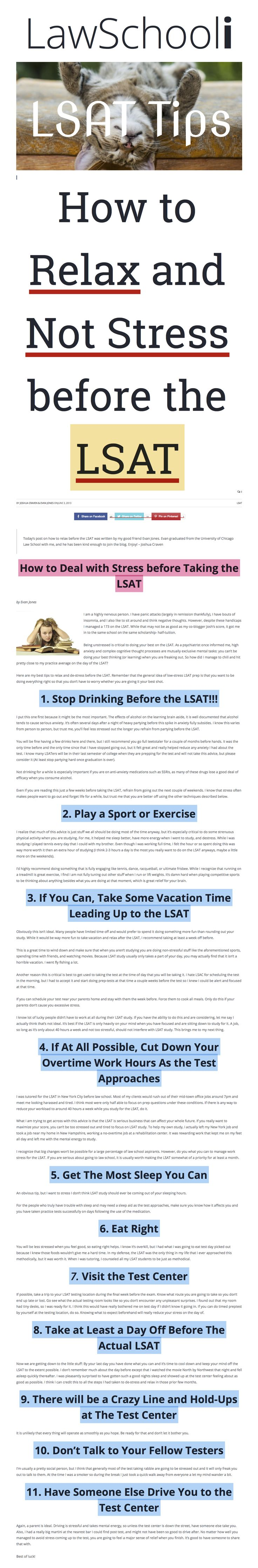 How to Relax & Not Stress Before the LSAT: http://lawschooli.com/how-to-relax-and-not-stress-before-the-lsat/