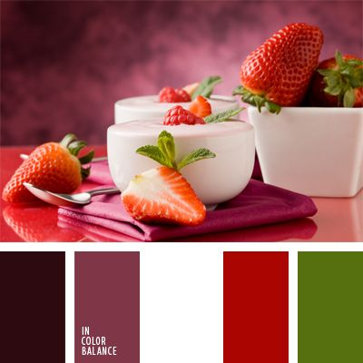 blanco y rojo, burdeos, burdeos oscuro y verde, color fresa, color malva, combinación de colores, elección del color, rojo y rosado oscuro, rosado oscuro, selección de colores, verde, verde y rojo.
