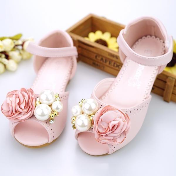 Dziewczyny Skora Z Mikrofibry Plaski Obcas Otwarty Nosek Buta Sandaly Buty Flower Girl Z Imitacja Perel Rzep Kw Girls Shoes Flower Girl Shoes Little Girl Shoes