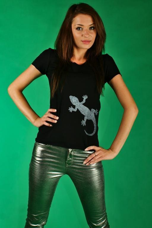 Koszulka z nadrukiem -  jaszczurka MADISSO M