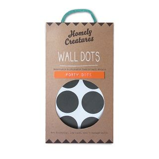 WALL DECAL DOTS BLACK - $29.95 - Making any room instantly trendy, these removable black wall dots are a super cute and don't damage walls! The eco-friendly decals are not only removable but they can be used again. Each dot is 3cm in diameter. There are 40 dots in each pack! #sweetcreations #kids #bedroom #nursery #decor #dots #HomelyCreatures