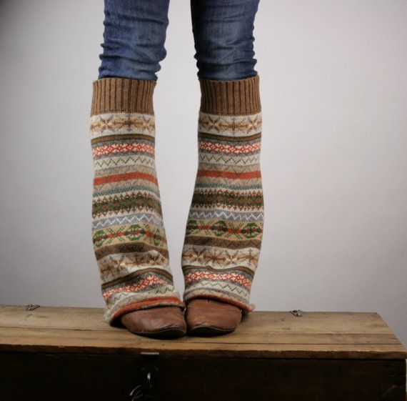 Upcycled Recycled Repurposed Sweater Leg Warmers Fair Isle Knit Brown Orange Camel. Such a cute idea!