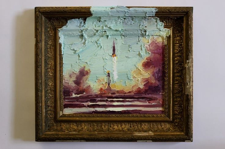 Nigel Mullins / Apollo 11 Launch / oil on panel & frame / 38 x 32 cm