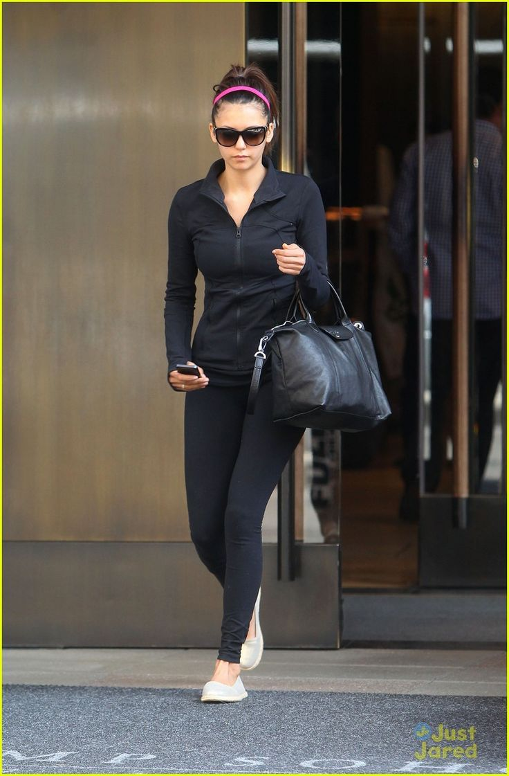 nina dobrev yoga class nyc 06, Nina Dobrev rocks a high ponytail while leaving her hotel on Sunday afternoon (May 5) in New York City.    The 24-year-old Vampire Diaries actress, wearing a Kitsch…